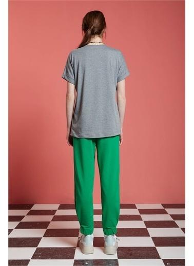 Mizalle Basic T-Shirt  Gri